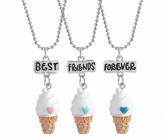 Colar Triplo Best Friends Forever Sorvete Melhores Amigosbff