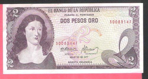 Billete De 2 Pesos De 1977 Colombia