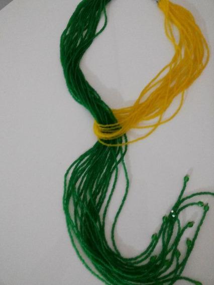 Brasil!!!!! Colar De Miçangas Verde E Amarelo