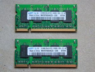 2 Memorias Ram Para Notebook, Samsung, 512 Mb, Pc2-5300s.