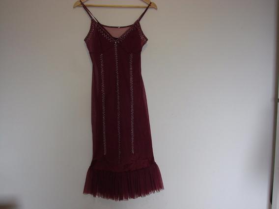 Vestido Seda Color Uva Bordado C/torerita