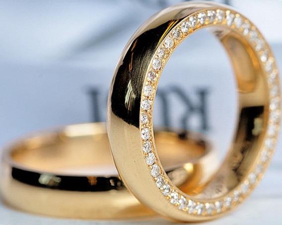 Par De Aliança Em Ouro 18k 750 Com 50 Diamantes