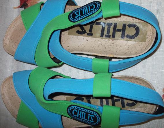 Sandalias Casuales, Nuevas, Color Verde-azul, Mujer, Chilis