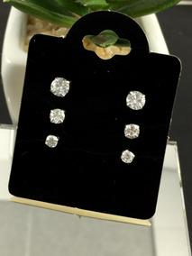 Trio Conjunto Brinco Pedras Zircônia Em Prata 925 Feminino