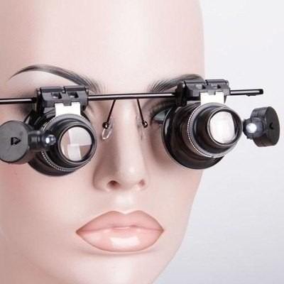 3 Oculos Lente Aumento Lupa Duplo Aumento 20x Led Precisão
