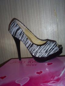 Zapato Bicolor Peep Toe Tacon Numero 37 38