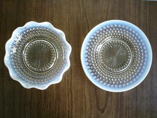 Dos Platos De Cristaleria Antigua Textura Tornasolada