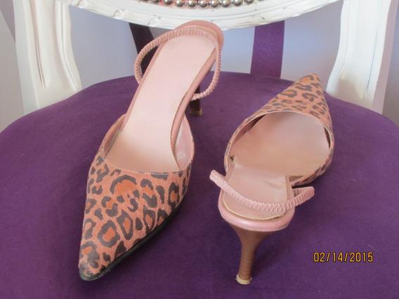 Zapatos Stiletto Nª 37 Animal Print Usado - Oferta!!