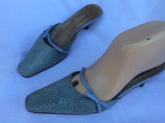 Zueco Sandalia Cuero Stiletto Nº 37 Cappio 1001zapatos