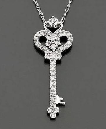 Dije Llave Oro Blanco Con Diamante 1/10ct Con Cadena