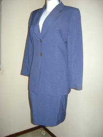 Traje Dos Piezas Saco-falda Azul Raya De Gis Talla 4 St42