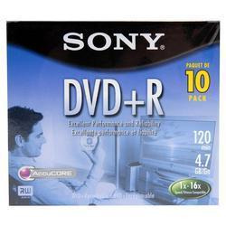 10 Dvd+r Sony En Blanco 16x 4.7 Gbs 120 Minutos + Caja Nuevo