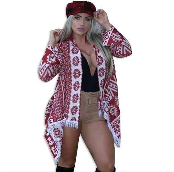 Trico Tricot Kimono Étnico Casaco Inverno Blogueira 2017