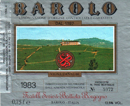 Imagen 1 de 1 de Etiqueta Barolo 1983
