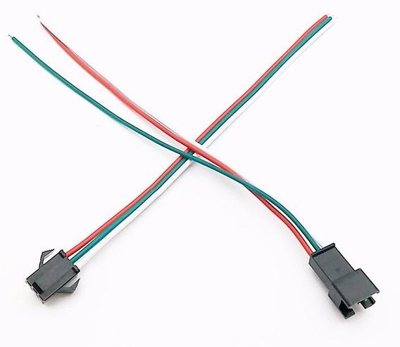10 Pares Conector 3fios Para Led Endereçavel Ws2811 Ws2812b