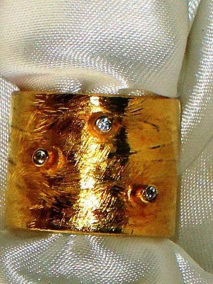 Sofisticado Anel Semi-jóia Banho Ouro/zircônias,itália,déc90