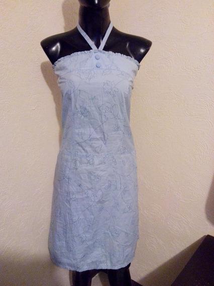 Bonito Vestido Azul Con Bordados