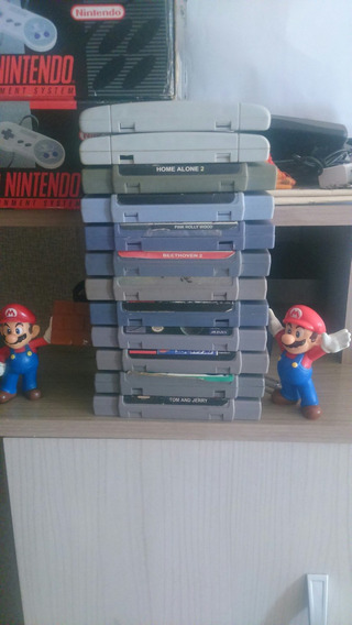 Lote De 12 Fitas Infantis De Super Nintendo