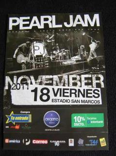 Pearl Jam Poster Presentacion En Lima 2011