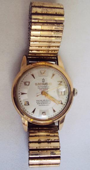 Relógio De Pulso Georges Beguelin Suíço Automático Dourado