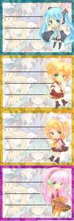 Etiquetas De Colegio De Vocaloid Miku Hatsune Luka Len Rin