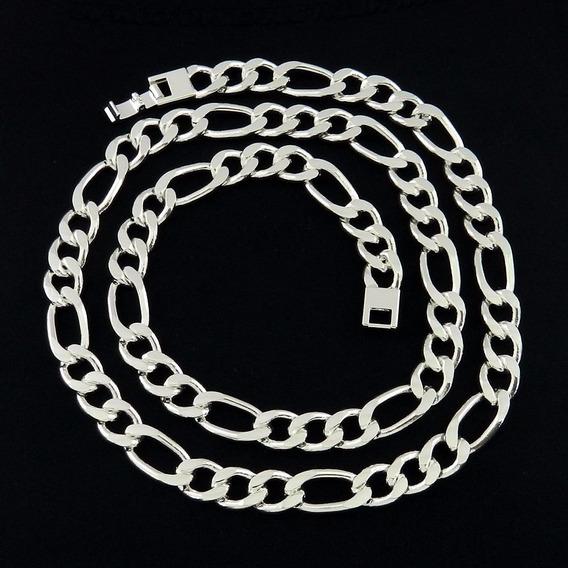 Corrente Masculina 70cm 1cm Largura Folheada Prata Cr134