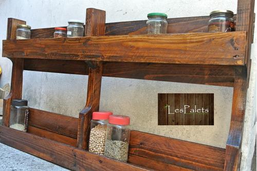 Organizador Especieros Y Estantes Doble  De  Pallets  Cocina
