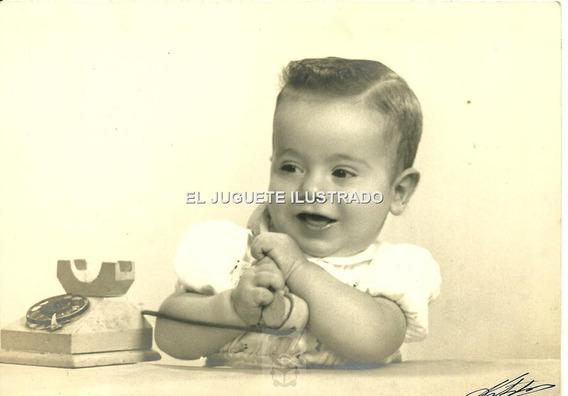 Ij20 Foto Estudio Bebe Con Juguete Telefono C1940 Antigua