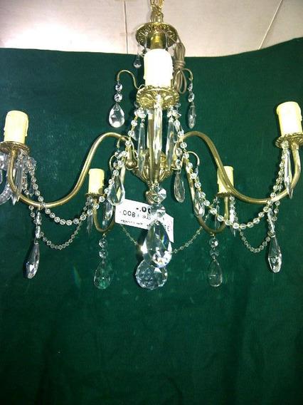 Araña Estilo Antigua Bronce Cristal Caireles Iluminacion