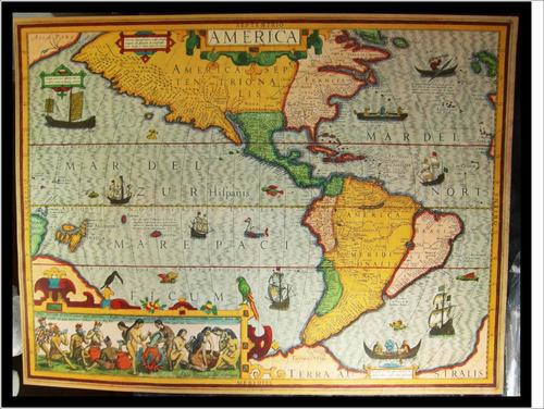 Mapa De Las Americas- Mercator/hondius- 1606-  31 X 41 Cm