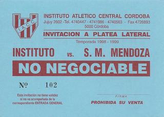 Entrada De Invitación Instituto 3 - San Martín Mza 0 (1999)