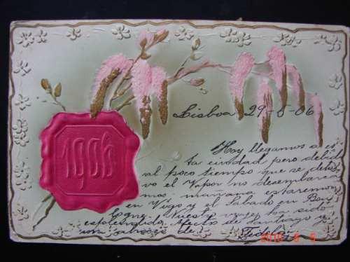 En Relieve - De 1906 Con Estampilla. Muy Antigua Postal.