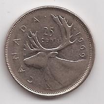 Canada Moneda 25 Cents Año 1969 !!!
