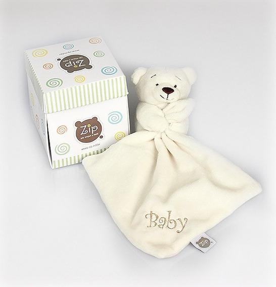 Mini Blanket (naninha) Ursinho Em Plush Branco Zip Toys