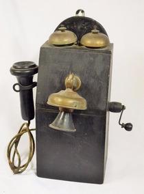 Antigo Telefone De Parede De Manivela