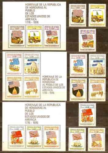 Homenaje Honduras - U S A. Serie Mint Compl 563/72 + 3 H. B.