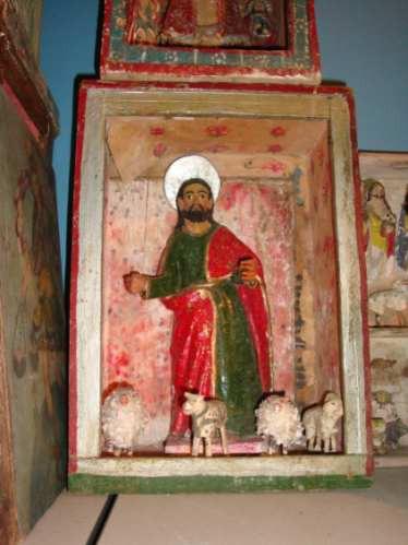 Antiguo Retablo Imagen Talla Santo San José ? Jesús Pastor ?