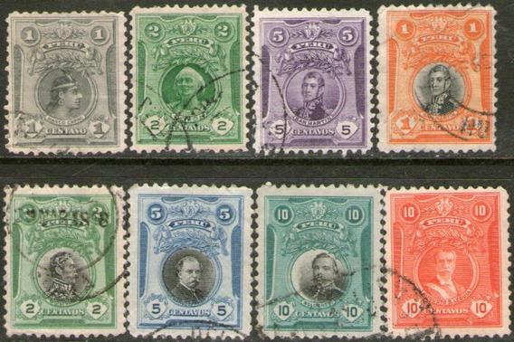 Perú 8 Sellos Usados San Martín = Bolívar = Colón 1909-25