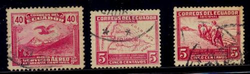 Ecuador Serie De 3 Sellos Usados