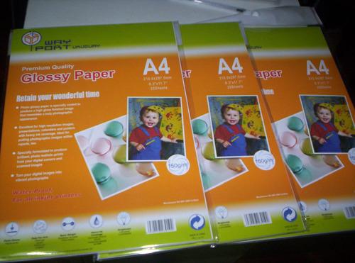 Papel Fotografico Brillo 150 Grs-paquete 20 Hojas