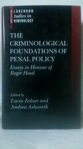 Imagen 1 de 10 de The Criminological Foundation Penal Policy Zedner Ashworth
