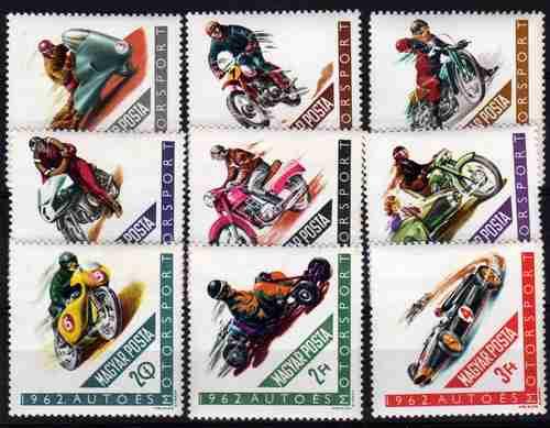 9 Estampillas De Hungria Tema Autos Y Motos Año 1962