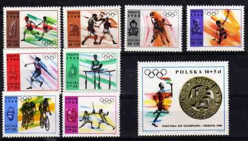 9 Estampillas De Polonia Juegos Olimpicos Mexico Año 1968