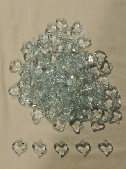 Pedras Em Acrílico Para Artesanato - Coração Verde- 500 Unid
