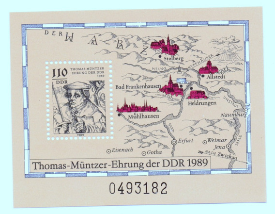 Alemania Republica Democratica 1989 * Thomas Müntzer *bloque
