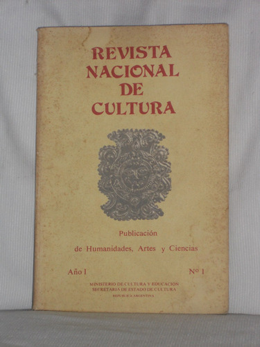 Imagen 1 de 1 de Revista Nacional De Cultura. Año 1 Nº 1.