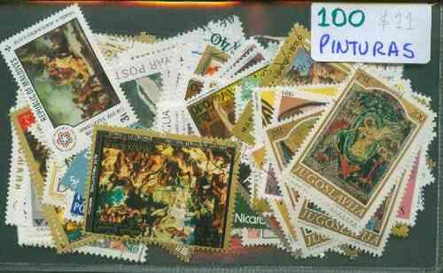 100 Estampillas De Pinturas ¡ Distintas !