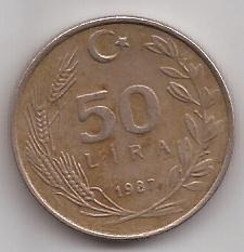 Turquia Moneda De 50 Liras Año 1987 !!!