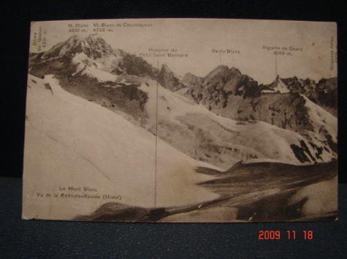 Tarjeta Postal Antigua. Le Mont Blanc. Año 1924.
