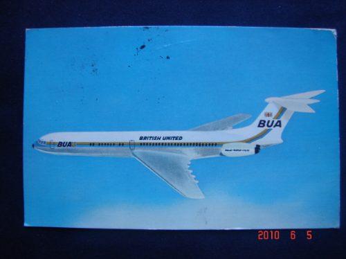 Avion De La British United Circ. Con Estamp. Antigua Postal.